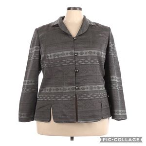 Leslie Fay Embroidered Silver Print Button Jacket